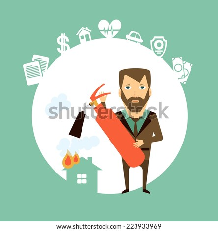 insurance agent extinguishes a fire extinguisher home illustration - stock vector