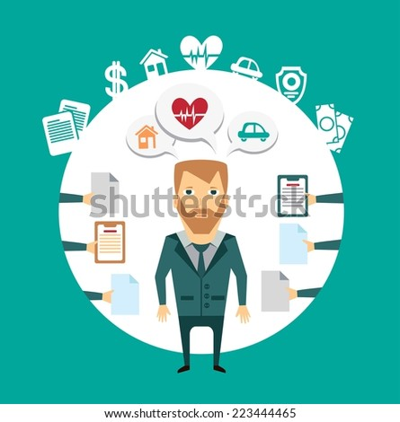 insurance agent works with clients illustration - stock vector