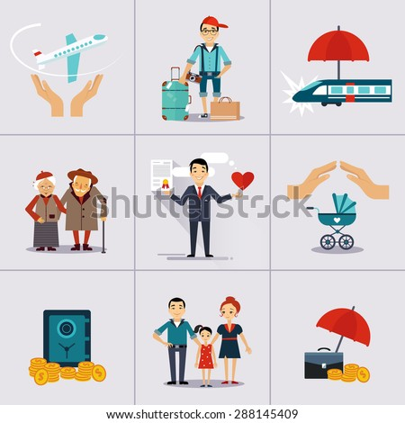 Insurance character and icons template. Vector illustration. Can be used for workflow layout, banner, diagram, number options, web design, timeline, infographics. - stock vector