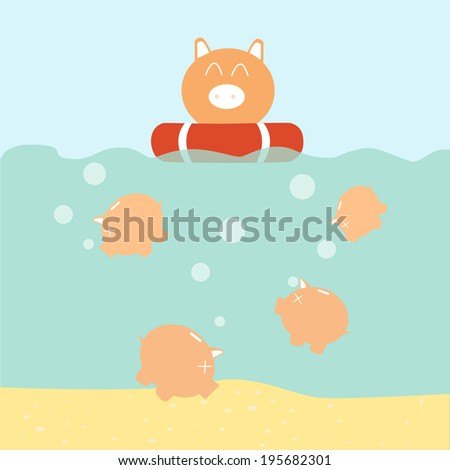 insurance concept - piggy bank on the lifebuoy - stock vector