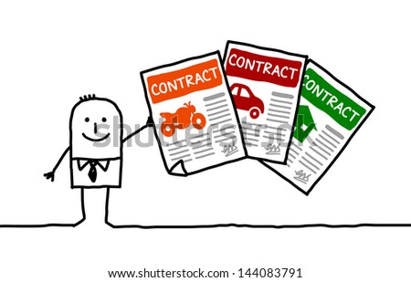 insurance contracts - stock vector