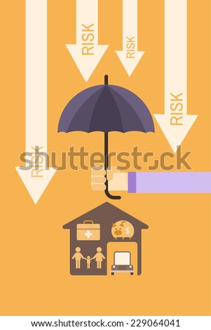 insurance cover concept of man holding umbrella to protect family, healthcare,saving,house and car - stock vector