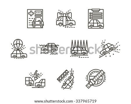 Insurance for automobile. Flood, car crash, buying car, evacuation, disaster and other cases for insurance claims. Black simple line vector icons set. Elements of web design for business and site. - stock vector