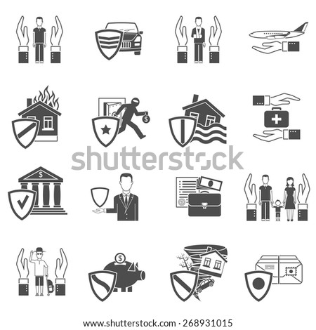 Insurance hand and shield black and white flat icon set isolated vector illustration - stock vector