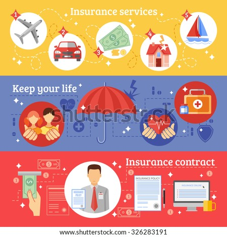 Insurance horizontal banners set with insurance services contract and keeping your life symbols flat isolated vector illustration  - stock vector