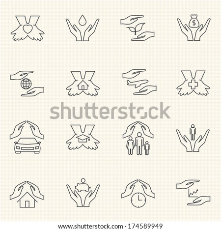 Insurance icon set. Line icons - stock vector