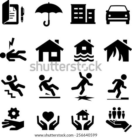 Insurance icon set. Vector icons for digital and print projects. - stock vector