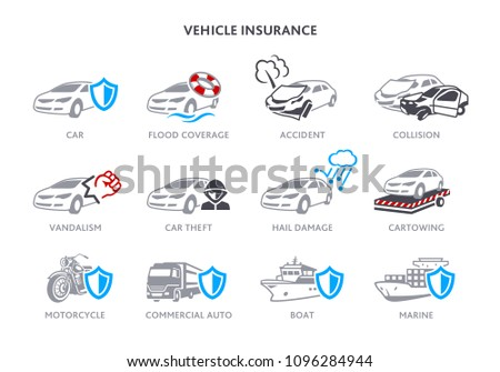 Insurance icons for road and marine vehicles