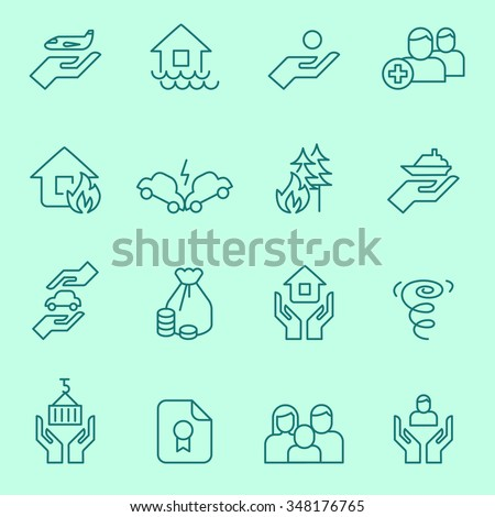 Insurance icons, thin line style - stock vector