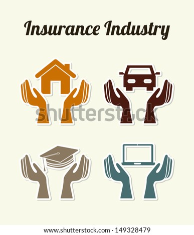 insurance industry over white background vector illustration  - stock vector