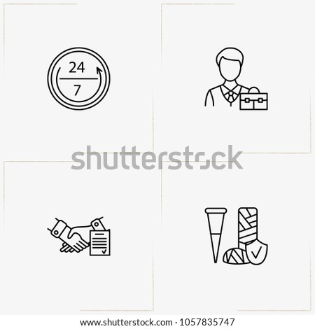 Insurance Line Icon Set Insurance Employee Stock Vector 1057835747
