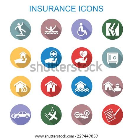 insurance long shadow icons, flat vector symbols - stock vector