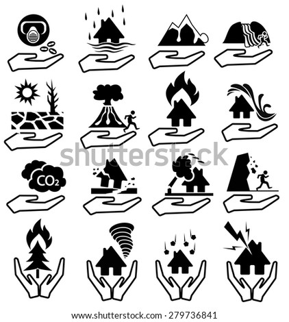 insurance natural disaster icon - stock vector