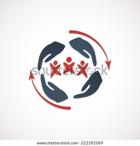 Insurance or protection concept icon or sign - stock vector