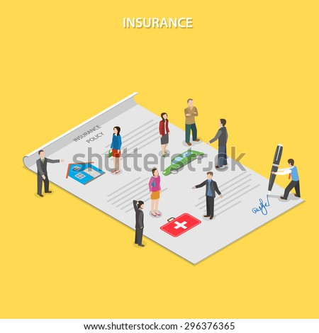 Insurance policy flat isometric vector concept. Insurance agents tell people about insurance conditions. All people are standing on paper insurance policy. - stock vector