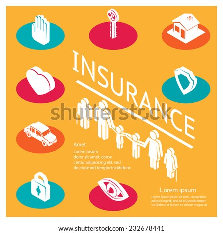 Insurance safety.  Three-dimensional color icons  of medical property, house protection, isolated vector illustration. Space for text - stock vector