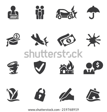 Insurance Silhouette icons - stock vector