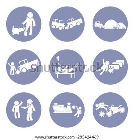 Insurances type and accident icon set pictogram for presentation business concept background in vector - stock vector