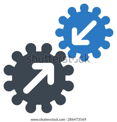 Integration icon from Business Bicolor Set. Vector style: bicolor flat symbol, smooth blue colors, rounded angles, white background.