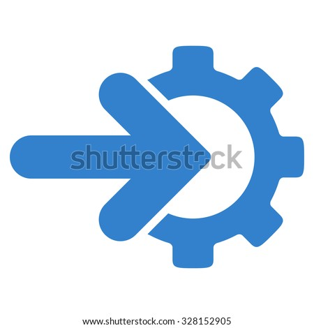 Integration vector icon. Style is flat symbol, cobalt color, rounded angles, white background. - stock vector