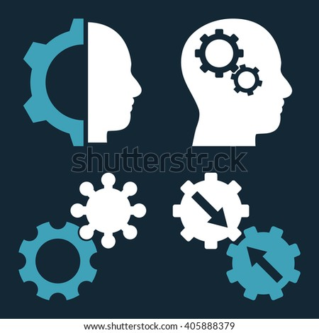 Intellect Gears vector icons. Style is bicolor blue and white flat symbols on a dark blue background. - stock vector