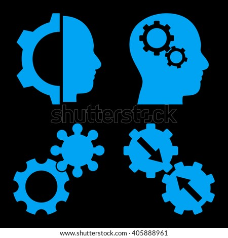 Intellect Gears vector icons. Style is blue flat symbols on a black background. - stock vector