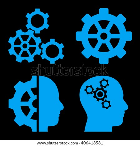 Intellect Gears vector icons. Style is blue flat symbols on a black background.