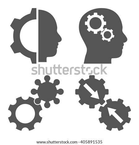 Intellect Gears vector icons. Style is gray flat symbols on a white background. - stock vector
