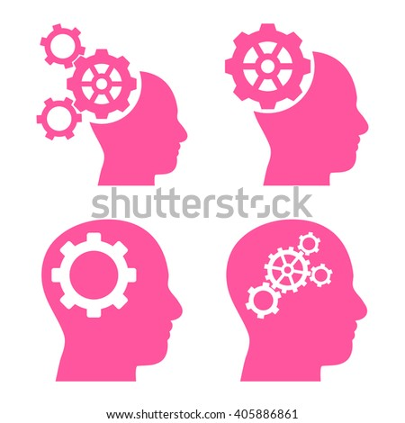 Intellect Gears vector icons. Style is pink flat symbols on a white background. - stock vector