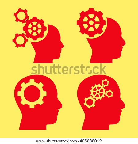 Intellect Gears vector icons. Style is red flat symbols on a yellow background. - stock vector