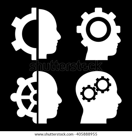 Intellect Gears vector icons. Style is white flat symbols on a black background. - stock vector