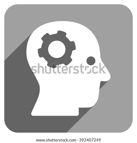 Intellect Mechanism long shadow vector icon. Style is a flat intellect mechanism iconic symbol on a gray square background. - stock vector