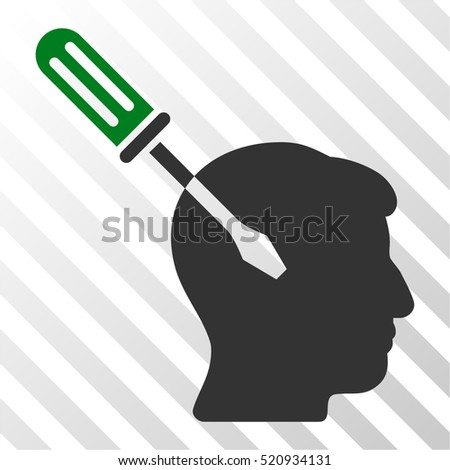 Intellect Screwdriver Tuning vector pictogram. Illustration style is flat iconic bicolor green and gray symbol on a hatch transparent background.