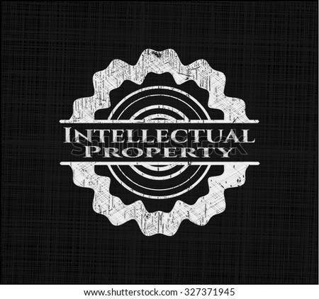 Intellectual property chalkboard emblem - stock vector