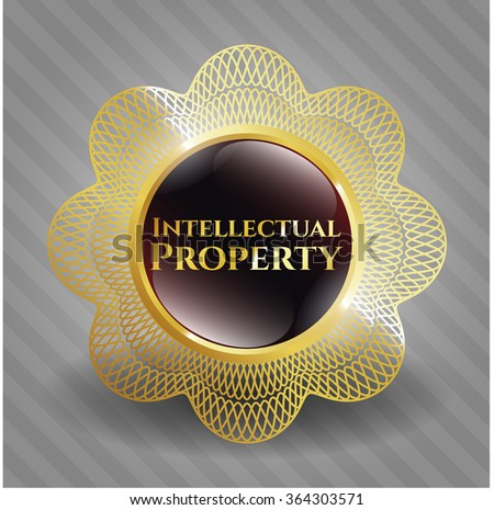 Intellectual property golden emblem or badge - stock vector