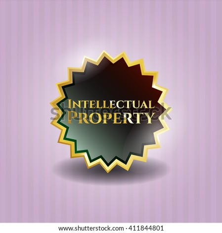 Intellectual property shiny emblem - stock vector