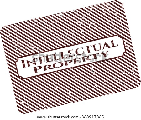 Intellectual property with rubber seal texture - stock vector