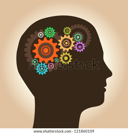 Intelligence concept, men with ideas and gears - stock vector