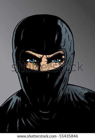Intense Ninja, thief or special forces. With vector, eyes/face are on a separate layer, so it can be easily removed. - stock vector