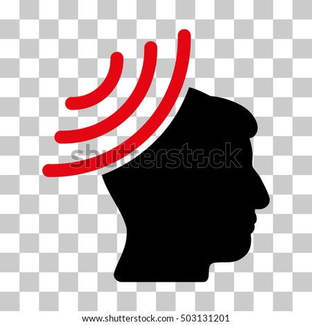 Intensive Red And Black Radio Reception Mind toolbar pictogram. Vector pictogram style is a flat bicolor symbol on chess transparent background.