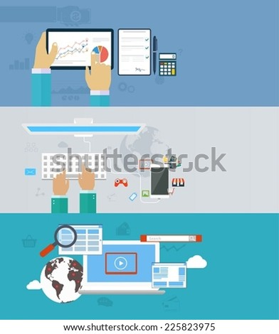 Interaction hands using keyboard and mobile application. Internet analyst, work in network, interaction of computer technologies. Concept icons for web and mobile. - stock vector