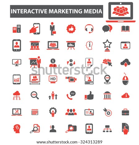 interactive education media icons - stock vector