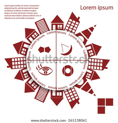 Interactive graphics in the style of the city. Houses around the circle with a place under the text - stock vector