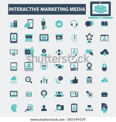 interactive marketing media icons  - stock vector
