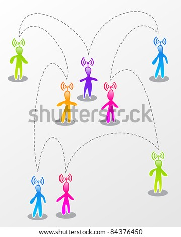 Interactive multicolored abstract people connected illustration. - stock vector