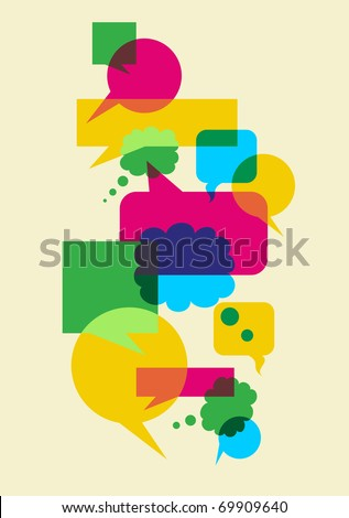 Interactive multicolored bubbles in different sizes and forms illustration. Vector file available. - stock vector