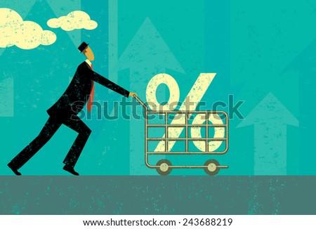 Interest Rate Shopping A man shopping for a good interest rate percentage. The man and shopping cart are on a separate labeled layer from the background. - stock vector