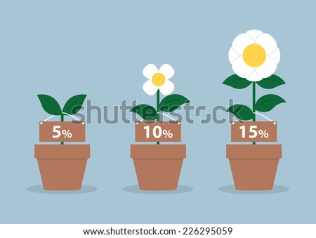 Interest rates and different size of flowers, Financial concept, VECTOR, EPS10 - stock vector