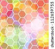 Interesting and dynamic colorful seamless pattern made of transparent dots overlaid with a white honeycomb pattern on top. - stock photo