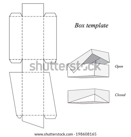 Interesting Box Template with lid, vector illustration - stock vector